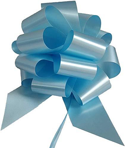 Confezione da 50 PZ coccarde azzurre autotiranti gran fiocco azzurro, nastro da 5 cm, per nascita bimbo
