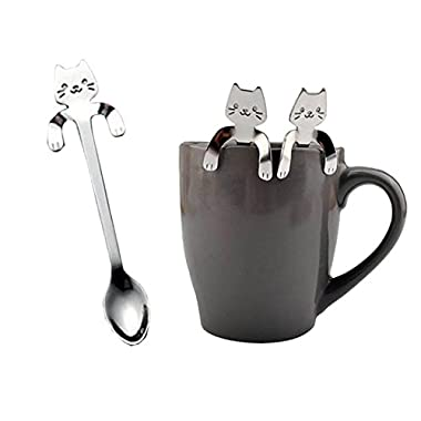 YJYdada 1 Piece Cute Cat Spoon Long Handle Spoons Flatware Drinking Tools Kitchen Gadget