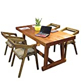 Mesa de Comedor, Mesa de Comedor de Madera Maciza y combinación de sillas Conjunto de 5 Piezas Mesa de Comedor Cuadrada Espesor de Mesa 5 cm Muebles de Cocina Color de Madera,180x70x75cm