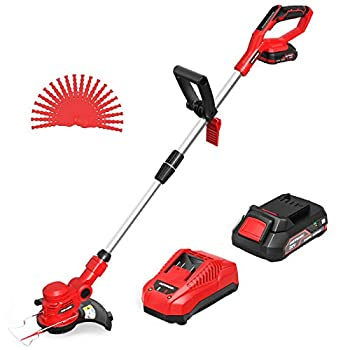 Cordless String Trimmer / Edger Meterk 20V Grass Trimmer Upgraded Grass Cutting Blade 10-Inch 2.0Ah Lithium-ion Battery Powered Fast Charger Telescopic Rod Lightweight for Grass Trimming / Edging