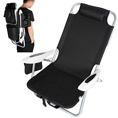 Bakaji Chaise Longue de Plage Pliante Portable Structure en Aluminium Tubulaire avec Poche de Rangement Sac Isotherme intégré et Bretelles Noir