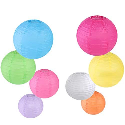 CXvwons Papier Laterne Lampions Bunt, Mehrfarbig Laterne Lampions rund Lampenschirm Hochtzeit Party Veranstaltung Feiern Fest Dekoration Papierlaterne Ballform