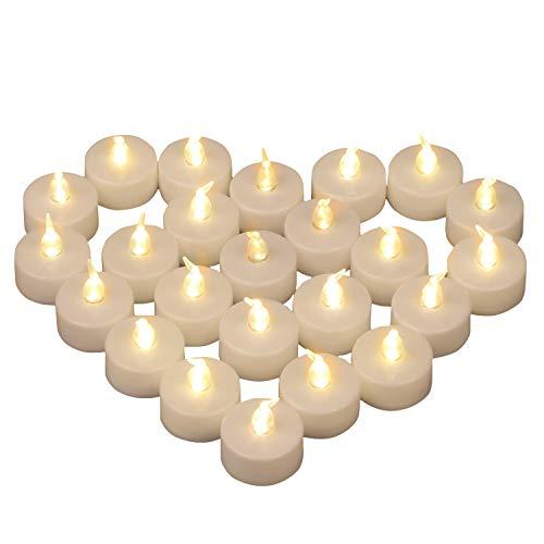 Yooyee LED Kerzen Teelichter Warmweiß 24 Stück Flammenlose Teelichter Kerzen Elektrische Kerzen Lichter CR2032 Batteriebetrieben Kerzenlicht für Halloween Weihnachten Party Dekoration - Warm Weiß