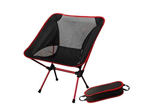 アウトドアチェア 折りたたみ椅子 キャンプ チェア - U5FUN 耐荷重150�s 航空アルミ材フレーム 超軽量900g 丈夫 簡単組み立て お釣り 山の日 花火大会 BBQ 登山 キャンプ用 収納バッグ付き(赤)