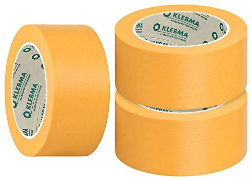 KLEBMA Gold Malerabdeckband Goldband Profi 3 Rollen je 50m Washi (50mm)