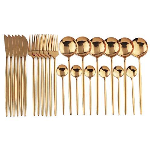 Conjunto de vajillas de color de 24 piezas Conjunto de acero inoxidable Cocina Vajilla Moderno Estilo moderno Setware (Color : 24Pcs Rose Gold)