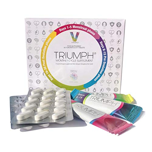 Triumph Natural Multivitamin Hormonal Support Cycle Supplement for Women, Includes 30 sachets and 30 Tablets