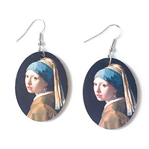 YU-HELLO _1 par creativo vintage pintura al óleo pendientes minimalismo dibujos animados diseño femenino ganchos colgantes joyería regalo