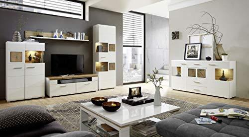 Froschkönig24 Wohnzimmer Komplettset 18460 Wohnkombination Set Wohnwand Weiß/Eiche Altholz