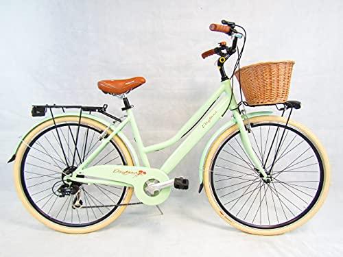 bicicletta da donna bici 28'' city bike in alluminio verde vintage retro' cesto in vimini Daytona