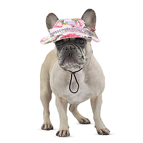 PREFERHOUSE Pet Dog Adjustable Hats with Ear Holes, Sports Costume Cap for Small Dogs Cats, Pets Summer Breathable Hat Doggie Caps Cute Large Round Baseball Cap Multicolor Sun Mesh Hat(Flower,L)