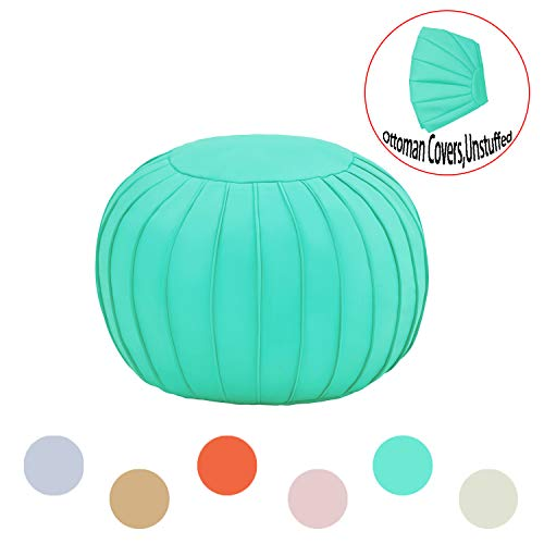 Comfortland Decorative Round Pouf Foot Stool for Christmas Large Storage Ottoman Seat Unstuffed Bean Bag Floor Chair Foot Rest for Living Room Bedroom Kids Room and Wedding Teal Green