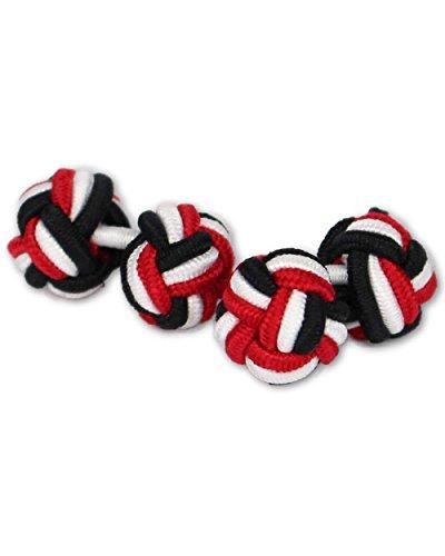 Seidenknoten Manschettenknöpfe | Knoten | Schwarz-Weiß-Rot | Stoff Seidenknötchen | Handgefertigt | Für jedes Hemd mit Umschlagmanschette Manschette