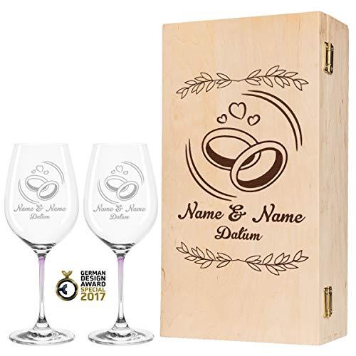 Leonardo La Perla - Copas de vino con diseño exclusivo de anillos de boda, regalo personalizado para la pareja de novios, regalo de boda, color rosa