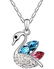 Blue Pink Swan Alloy necklace