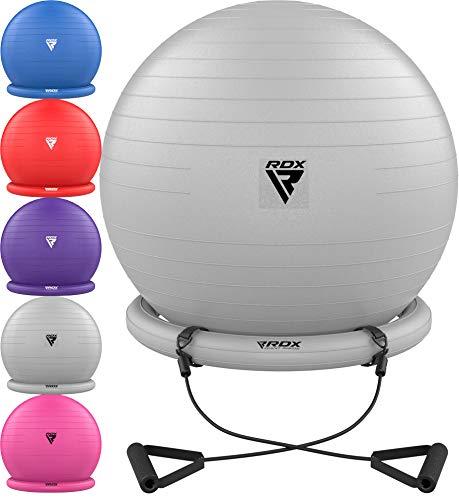 RDX Gymnastikball mit Widerstandsbänder Stabilitätsbasis, Extra Dicker Yoga Pezziball Fitness Pilates Stuhl, Anti-Berst Balance Ball Luftpumpe Schwangerschaft Büro Hause Fitnessstudio (MEHRWEG)