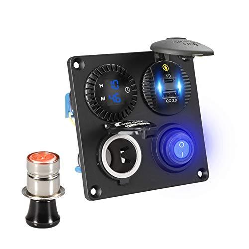 Summer solstice Tipo C CAR 4 Panel USB 12V Cargador 36W Tiper Timer Socket Con USB A 12V DC Adaptador De Encendedor De Cigarrillos QC CARGO RÁPIDO PARA TELÉFONO 3.0 ( Color Name : Blue with lighter )