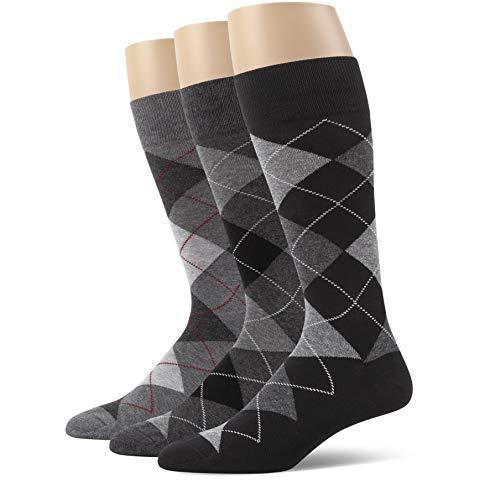 ui Mens Combed Cotton Argyle Dress Socks 3 Pack Multicolored X Large