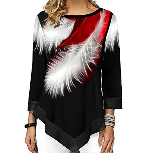 ZJMIYJ Manches Longues Femme,T-Shirt Imprimé 3D Femmes Col Rond Streetwear T-Shirts Lâches Irréguliers, Plus La Taille des Hauts, M