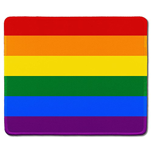 dealzEpic - Art Mousepad - Natural Rubber Mouse Pad Printed with Gay Pride Rainbow Flag - Stitched Edges - 9.5x7.9 inches