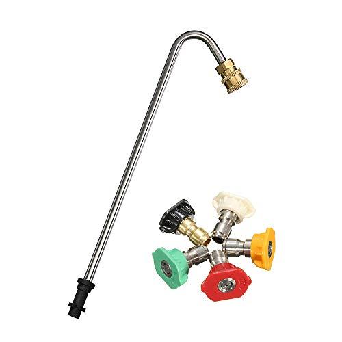 Stone Banks Kit de limpieza de canalones, lanza de lavado Underchassis compatible con Karcher K2 K3 K4 K5 K6 K7 Lavadoras a presión, arandela a presión en ángulo Lance limpiador de varilla