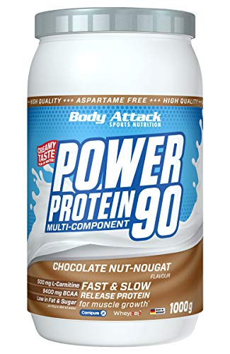 Body Attack Power Protein 90, Chocolate Nut Nougat, 1 kg, 5K Eiweißpulver mit Whey-Protein, L-Carnitin und BCAA für Muskelaufbau und Fitness