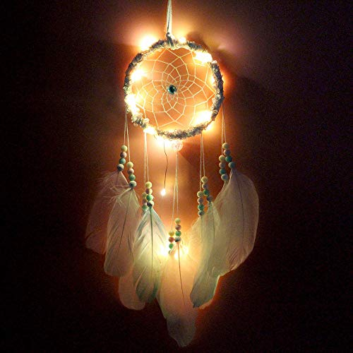 WZXHN Dreamcatcher Wandbehang Windspiele LED Crafts Lucky Dream Catcher Nachtlichter Mädchen Schlafzimmer Hängende Dekoration Dekoratives hängendes Netz-K
