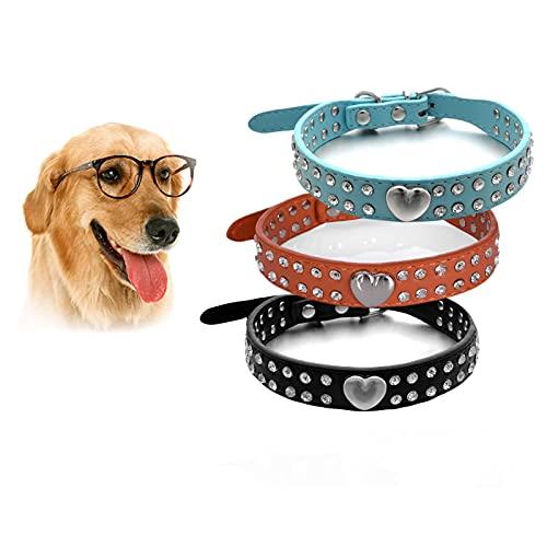 Dewlin 3 Pezzi Cani Collare di Strass, Regolabile Collare in Nylon, Collare Riflettente per Cani di Taglia Media, Cuccioli Bling Collare, Collare in Silicone per Cani e Gatti Compatibile (XXS)