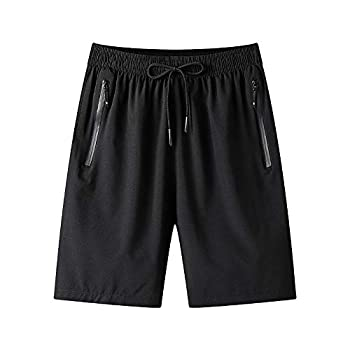 Men s Gym Workout Shorts Quick Dry Lightweight Athletic Training Running Hiking Jogger with Zipper Pockets Muaney-MenSportShorts7022-Black03-L