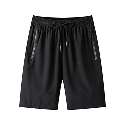 Men's Gym Workout Shorts Quick Dry Lightweight Athletic Training Running Hiking Jogger with Zipper Pockets(Muaney-MenSportShorts7022-Black02-M)