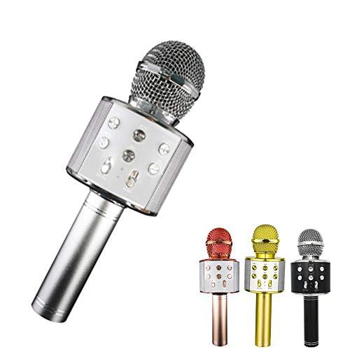 LSEEKA Micrófono Karaoke Bluetooth, 4 en1 Microfono Inalámbrico Portátil con Luces LED para Niños Canta Partido Musica, Función de Eco, Compatible con Android/iOS PC, AUX o Teléfono Inteligente(plata)