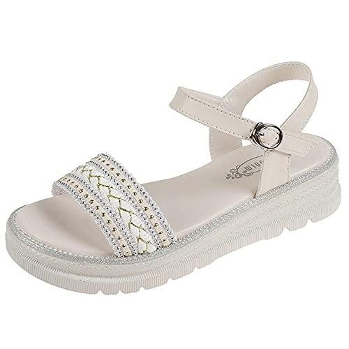 Sandalias Wave,Pendiente Inferior Gruesa con Sandalias de Gran tamaño, Zapatos de Mujer pequeña tamaño-Beige 1_37,Sandalias de Ducha de Verano