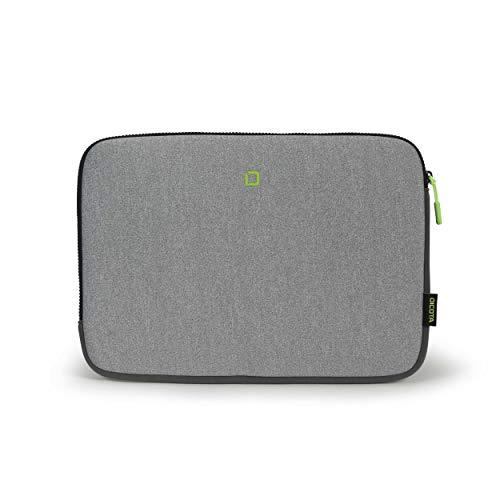 """DICOTA Skin Hülle Flow, Laptop/Notebook/Tablet Hülle, Neopren-Laptoptasche, Elastisch, Grau/Gelb, für Laptops 13-14.1"""""""