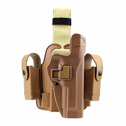 Gexgune Tactical Leg Holster Funda de Muslo Derecha con Paleta Derecha con Bolsa de Linterna con botón a presión para Glock 17/19/22/23/31/32 (2 Colores Opcionales)