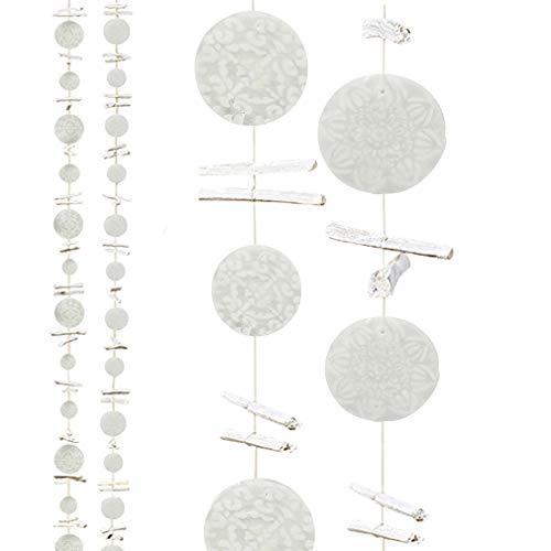 HausderHerzen Girlande Windspiel Capiz-Muschel Dekohänger Perlmut 2er Set - Silber/grau mit Holz weiß