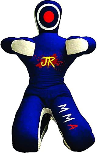 Maniquí de práctica de MMA (posición sentada) para Boxeo, Lucha, Lanzamiento, Agarre, kárate, jiu-Jitsu, Entrenamiento de Lucha Libre - SIN LLENAR (Lona Azul, 70 Pulgadas