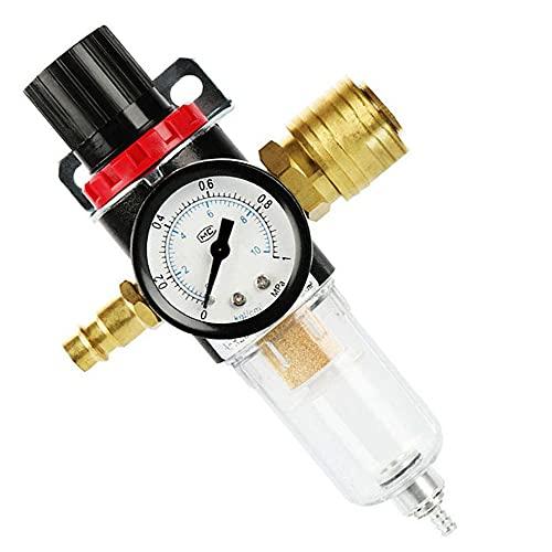 """KAMIIN Regolatore Pressione Compressore, 1/4"""" Regolatore Filtro Compressore d'Aria, Trappola per l'acqua a Pressione Separatore d'olio Strumento lubrificatore per Air Tools System"""