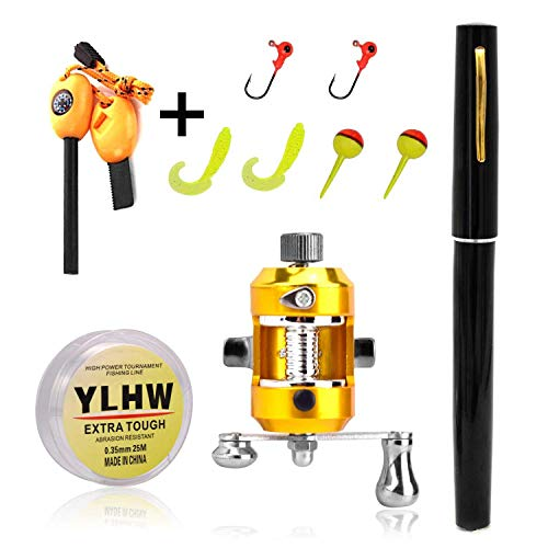 ActionEliters Portable Pen Fishing Rod Pole and Reel Combo Set - Telescopic Pocket Fishing Pen Rod Pole + Reel Aluminum Alloy Fishing Line Soft Lures Baits Jig Hooks Firestarter Compass Whistle
