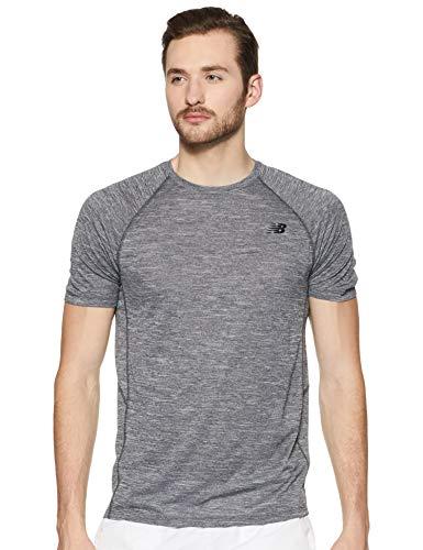 New Balance Tenacity SS tee Top para Hombre, Hombre, Camiseta, MT81095, Carbón Jaspeado, S