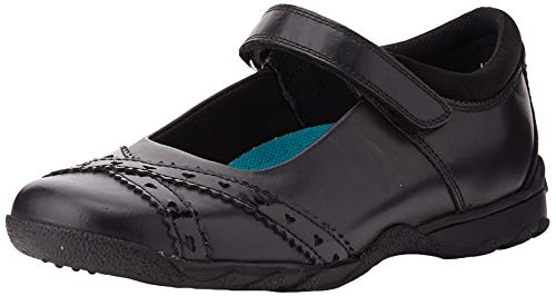 Hush Puppies Olivia Girls Leather School Shoes-Black-1.5