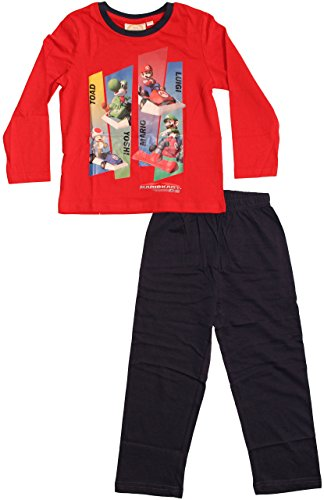 Nintendo Super Mario Kollektion 2015 Schlafanzug Jungen Pyjama Neu Lang Kart WII rot (104)