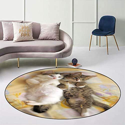 "Funny Skid-Resistant Round Floor Mat, Kitten Siblings Lying Beside Sleepy Heads Cat Pet Animal Lovers Best Friends Image Safe for All Surfaces Home Playroom, Diameter 43"" Multicolor"