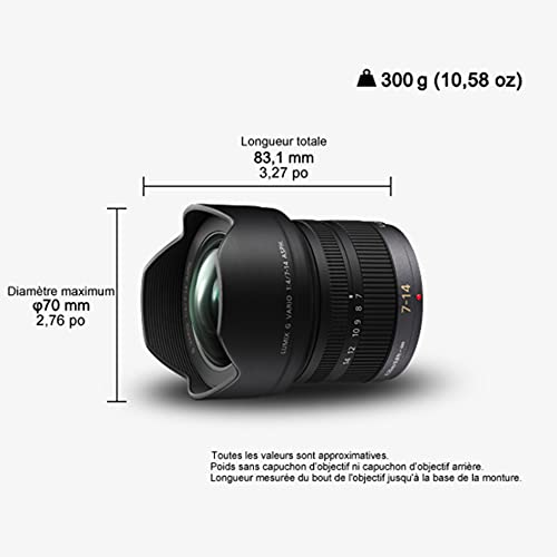 Panasonic H-F007014E LUMIX G Vario Superweitwinkel 7-14 mm F4.0 ASPH. Objektiv (14-28 mm KB) schwarz