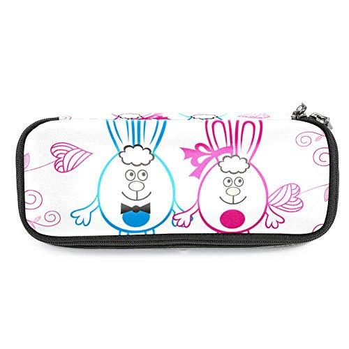 Estuche de piel con diseño de dibujos animados de color rosa para niños y niñas, con cremallera y estuche duradero de 19 x 7,6 x 3,8 cm