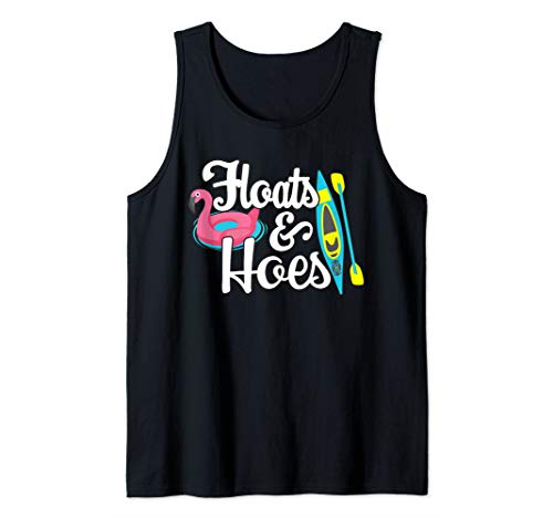 Tubing Trip Float Day Floats and Hoes Funny Lake Boating Tank Top