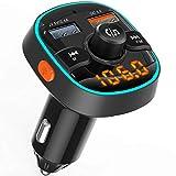 Clydek Transmetteurs FM de Voiture, Adaptateur Audio d'autoradio Bluetooth avec 7 Rétroéclairés RGB, Prend en Charge Le Chargement QC3.0, Les Appels Mains Libres et Le Lecteur de Musique