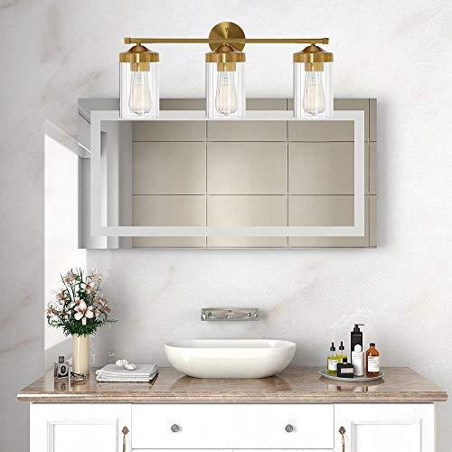 ELUZE Modern Vanity Light ,3 Lights Brushed Brass Clear Ribbed Glass Bathroom Lighting for Bathroom Bedroom Corridor Stairs Dressing Table, Vanity Table Wall Lamp