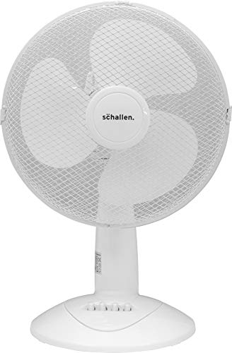 Schallen Branded Home & Office Electric 12' 3 Speed Electric Oscillating Worktop Desk Table Air Cooling Fan (White)