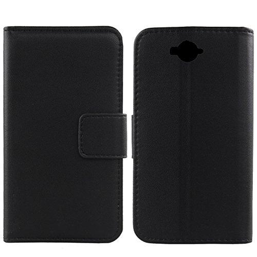 Gukas Design Echt Leder Tasche Für Doogee Homtom HT10 Hülle Handy Flip Brieftasche mit Kartenfächer Schutz Protektiv Genuine Premium Hülle Cover Etui Skin (Schwarz)