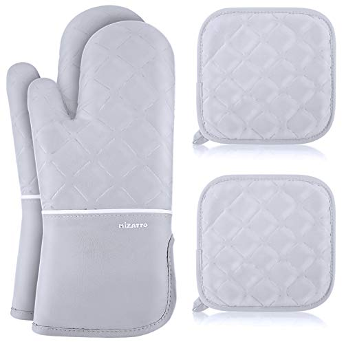 MIZATTO Oven Mitts and Pot Holders 4pcs Set – Kitchen Oven Glove High Heat Resistant 500 Degree...